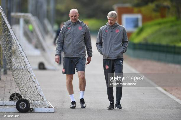 Arsenal manager Arsene Wenger and assistant Steve Bould after a training session at London Colney on April 25 2018 in St Albans England