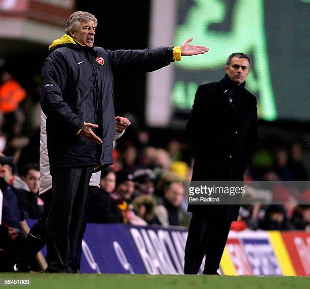 Arsenal Manager Arsene Wenger and Chelsea Manager Jose Mourinho give instructions from the sidelines during the Barclays Premiership match between...