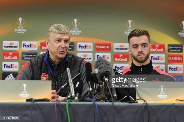Arsenal manager Arsene Wenger and defender Calum Chambers attend a press conference at London Colney on February 21 2018 in St Albans England
