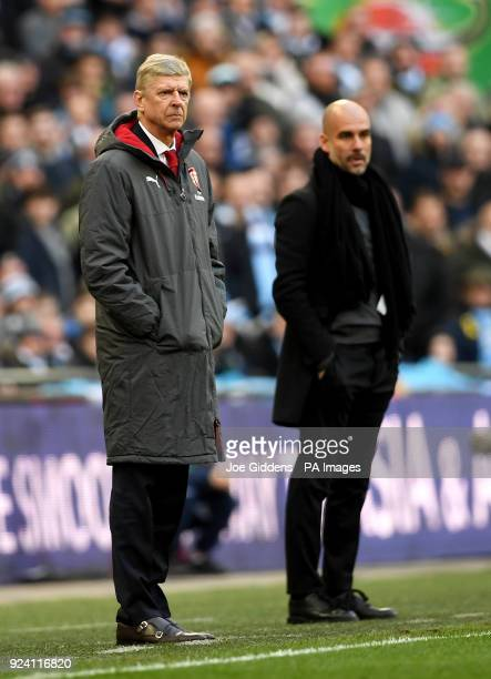 Arsenal manager Arsene Wenger and Manchester City manager Pep Guardiola during the Carabao Cup Final at Wembley Stadium London