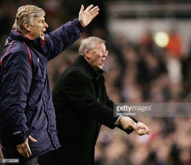 Arsenal manager Arsene Wenger and Manchester United Manager Alex Ferguson yell instructions from the sidelines during the Barclays Premiership match...