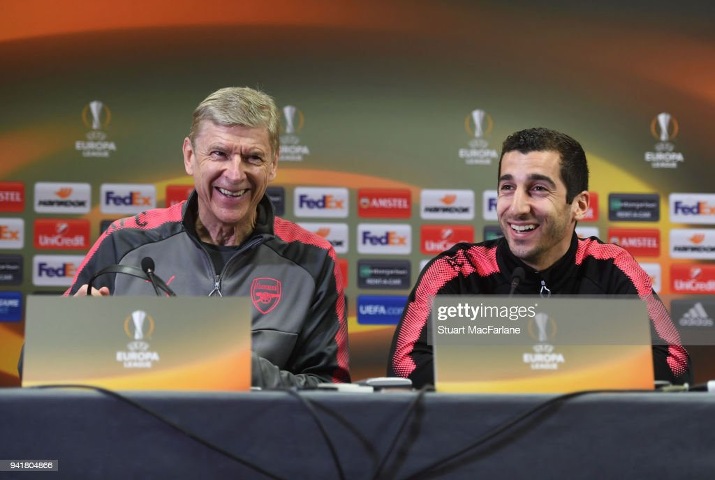 Arsenal manager Arsene Wenger and midfielder Henrikh Mkhitaryan attend a press conference at London Colney on April 4, 2018 in St Albans, England.