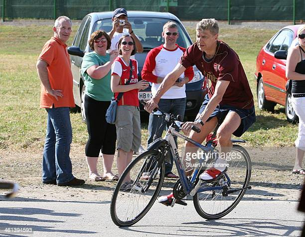 Arsenal manager Arsene Wenger arrives at the pre season training camp on July 23 2007 in Bad Waltersdorf Austria