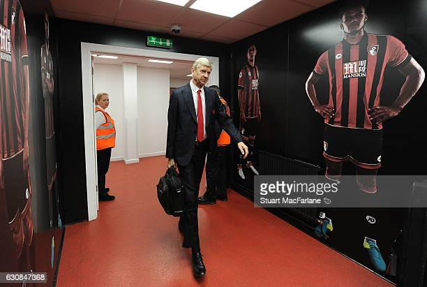 Arsenal manager Arsene Wenger arrives at the Vitality Stadium before the Premier League match between AFC Bournemouth and Arsenal on January 3 2017...