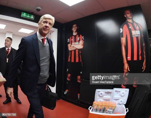 Arsenal manager Arsene Wenger arrives at the Vitality Stadium the Premier League match between AFC Bournemouth and Arsenal on January 14 2018 in...