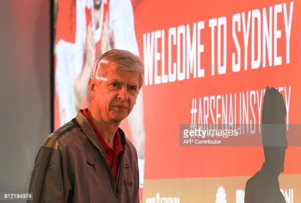 Arsenal manager Arsene Wenger arrives for a press conference in Sydney on July 11 ahead of two preseason football friendly matches against Sydney FC...