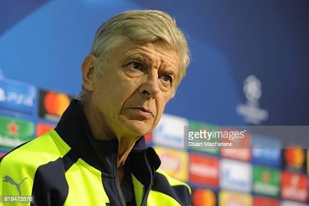 Arsenal manager Arsene Wenger attehds a press conference at Vasil Levski National Stadium on October 31 2016 in Sofia