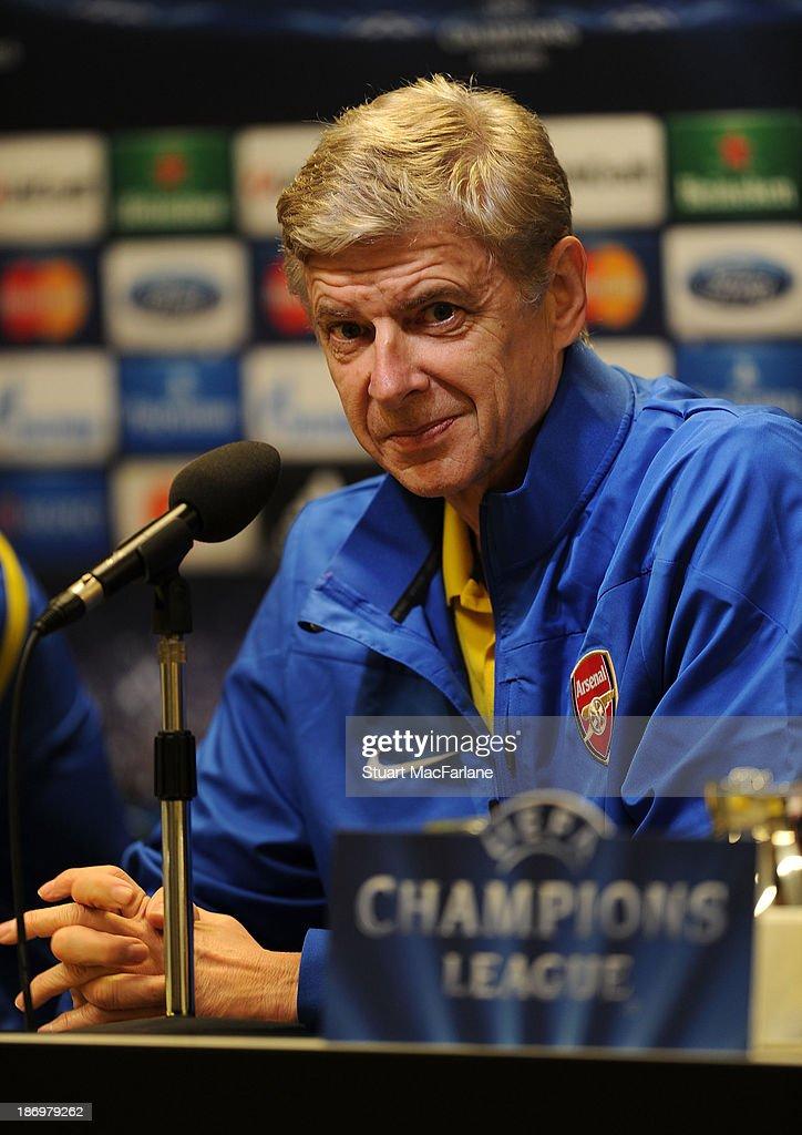 Arsenal manager Arsene Wenger attends a pre match press conference at Signal Iduna Park on November 5, 2013 in Dortmund, North Rhine-Westphalia.