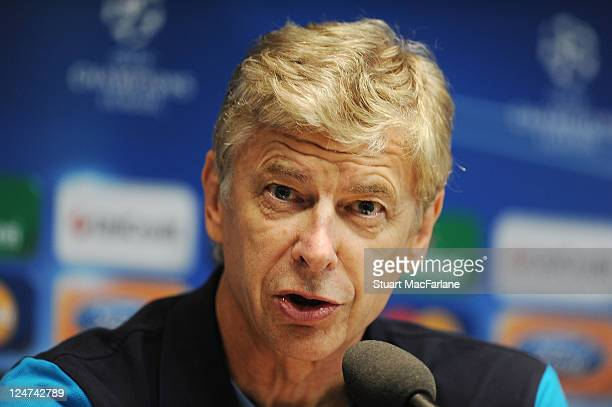 Arsenal manager Arsene Wenger attends a Press Conference ahead of their UEFA Champions League Group match against Borussia Dortmund at Signal Iduna...