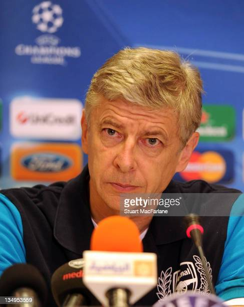 Arsenal manager Arsene Wenger attends a press conference ahead of their UEFA Champions League Group match against Olympiacos FC at Holiday Inn Athens...
