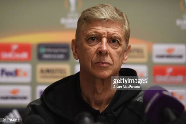Arsenal manager Arsene Wenger attends a press conference at Sheremetyevo Airport on April 11 2018 in Moscow