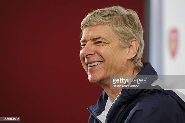 Arsenal manager Arsene Wenger attends a press conference at London Colney on February 10, 2012 in St Albans, England.