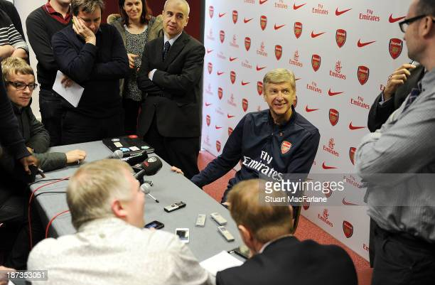 Arsenal manager Arsene Wenger attends a press conference at London Colney on November 8 2013 in St Albans England