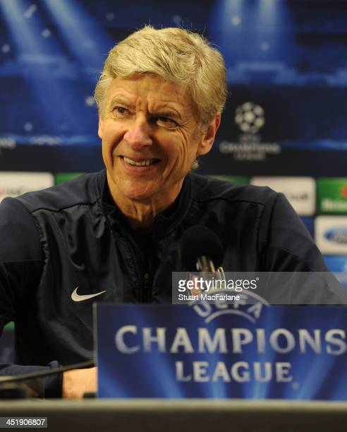 Arsenal manager Arsene Wenger attends a press conference at London Colney on November 25, 2013 in St Albans, England.