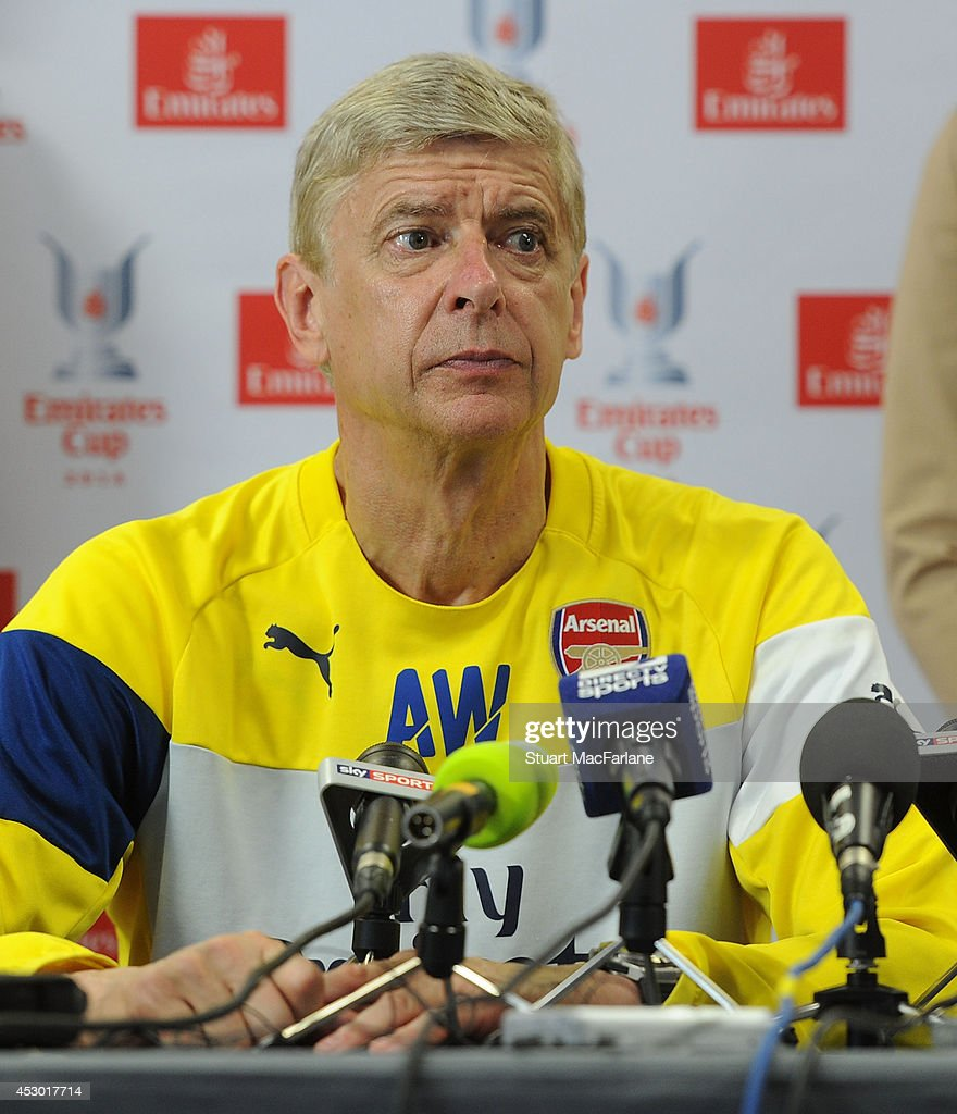 Arsenal manager Arsene Wenger attends a press conference at London Colney on August 1, 2014 in St Albans, England.