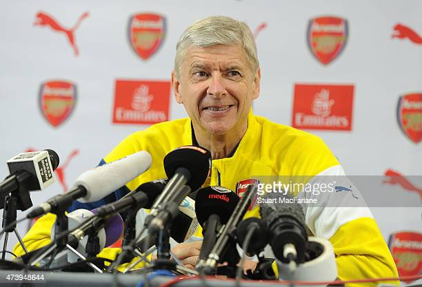 Arsenal manager Arsene Wenger attends a press conference at London Colney on May 19 2015 in St Albans England