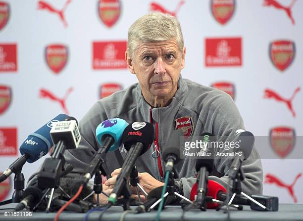 Arsenal manager Arsene Wenger attends a press conference at London Colney training ground on September 30 2016 in St Albans England