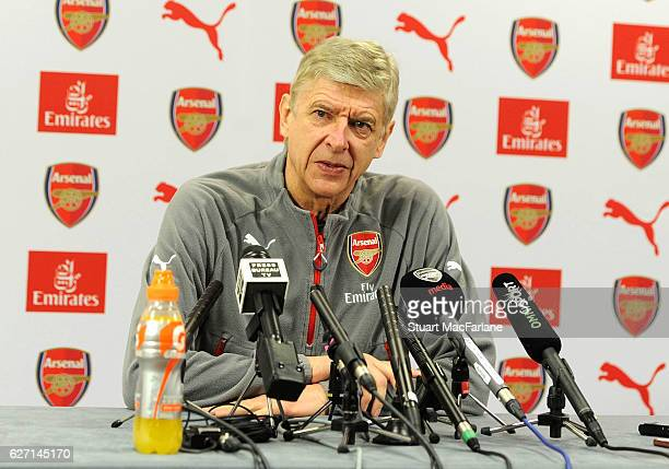 Arsenal manager Arsene Wenger attends a press conference at London Colney on December 2 2016 in St Albans England