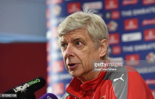 Arsenal manager Arsene Wenger attends a press conference at London Colney on April 20 2017 in St Albans England