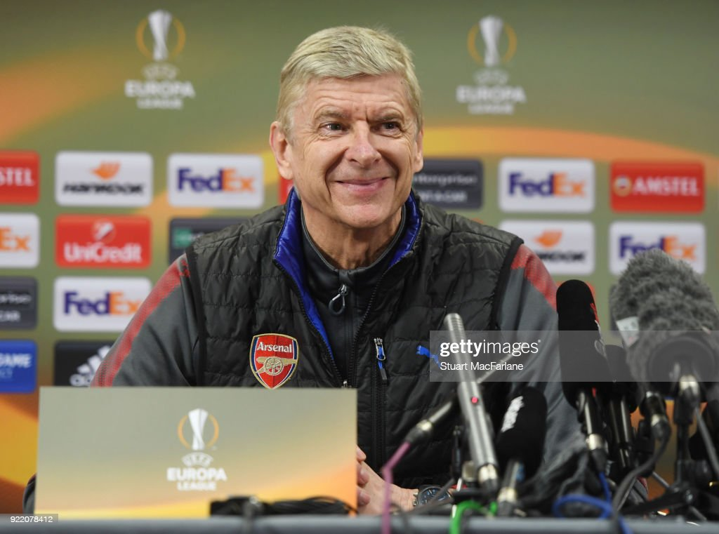 Arsenal manager Arsene Wenger attends a press conference at London Colney on February 21, 2018 in St Albans, England.
