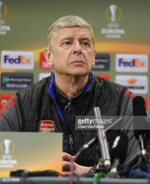 Arsenal manager Arsene Wenger attends a press conference at London Colney on February 21 2018 in St Albans England