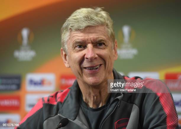 Arsenal manager Arsene Wenger attends a press conference at London Colney on April 25 2018 in St Albans England