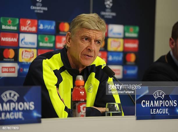 Arsenal manager Arsene Wenger attends a press conference at St JakobPark on December 5 2016 in Basel BaselStadt