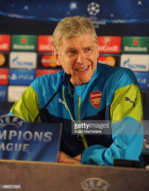 Arsenal manager Arsene Wenger attends a press conference at Stade Louis II on March 16 2015 in Monaco Monaco