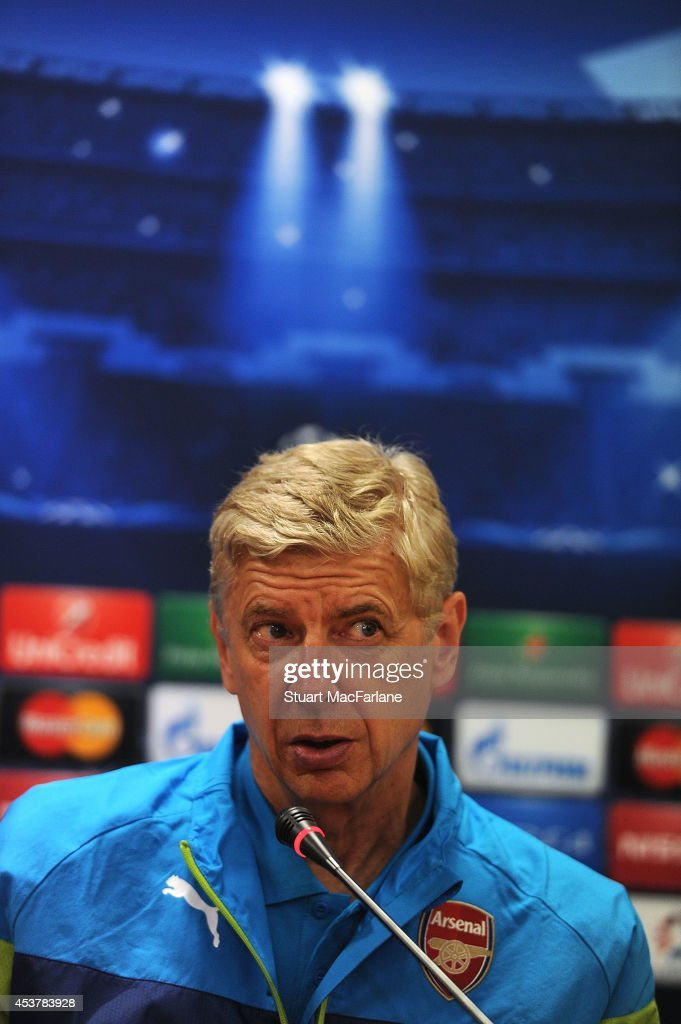 Arsenal manager Arsene Wenger attends a press conference at the Ataturk Olympic Stadium on August 18, 2014 in Istanbul, Turkey.
