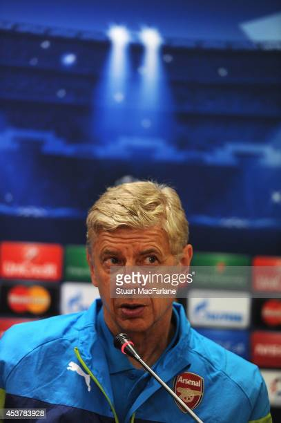 Arsenal manager Arsene Wenger attends a press conference at the Ataturk Olympic Stadium on August 18 2014 in Istanbul Turkey