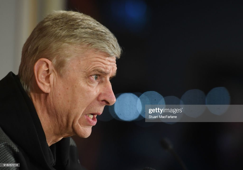 Arsenal manager Arsene Wenger attends a press conference at the Ostersund Biathlon Arena on February 14, 2018 in Ostersund, Sweden.