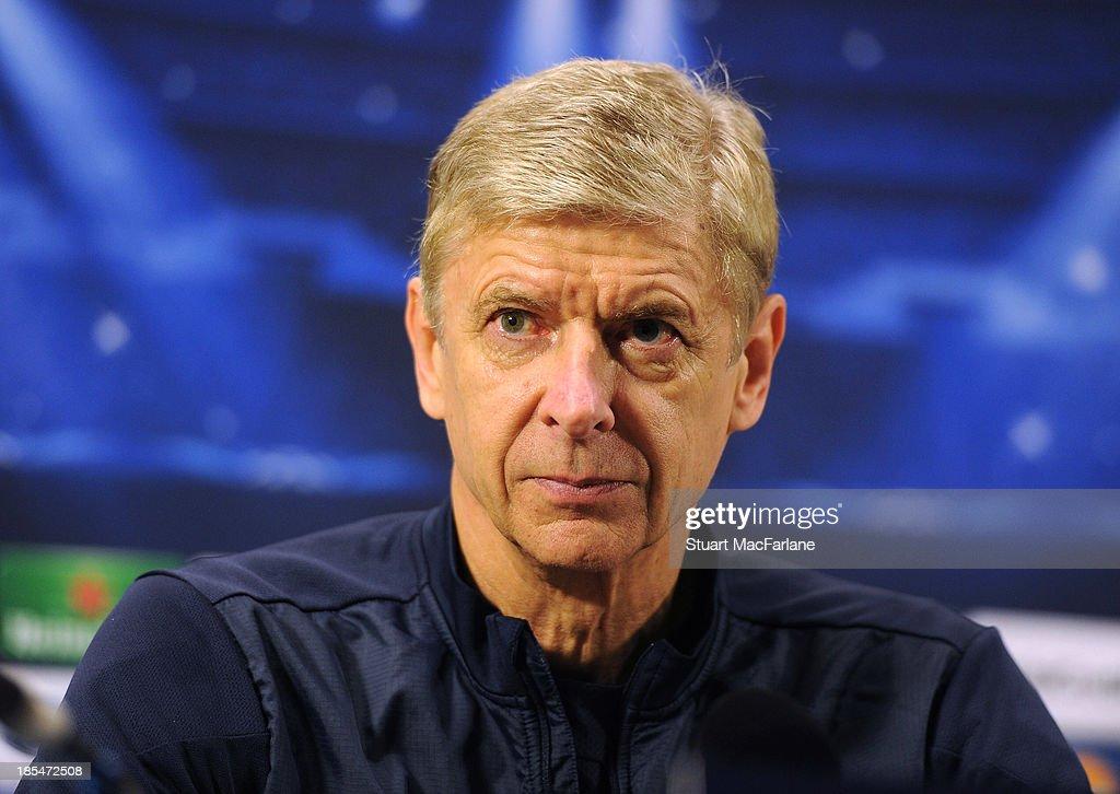 Arsenal manager Arsene Wenger attends a press confernece at London Colney on October 21, 2013 in St Albans, England.