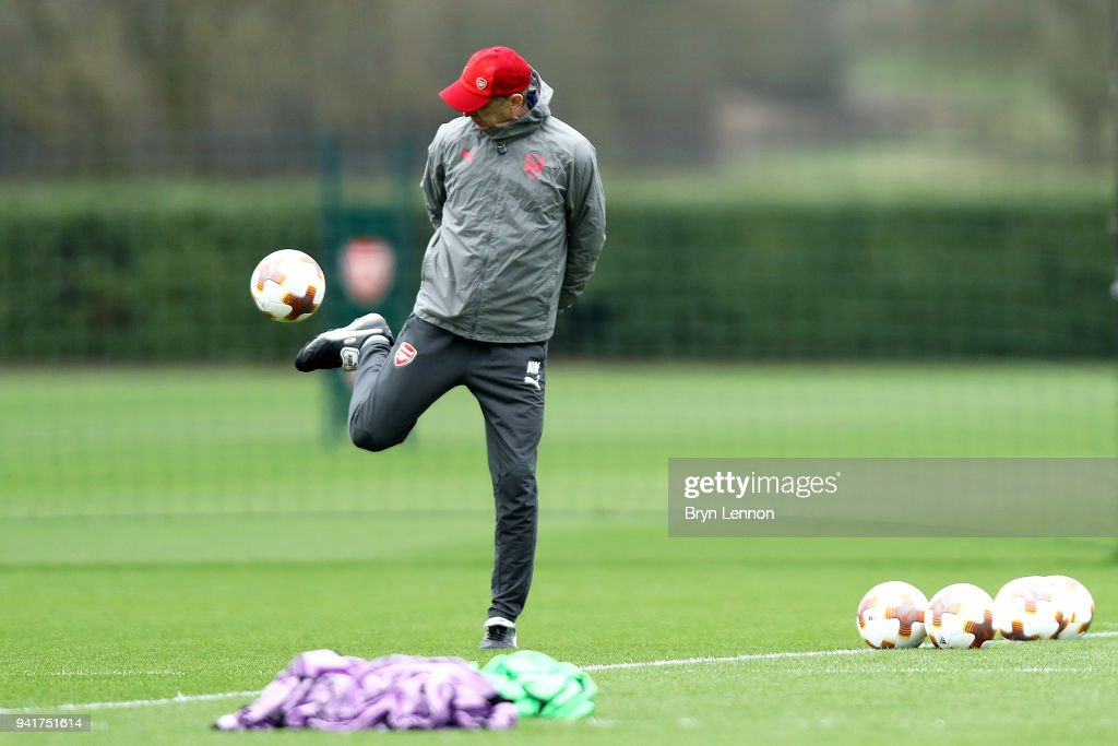 Arsenal Manager Arsene Wenger attends a training session at London Colney on April 4, 2018 in St Albans, England.