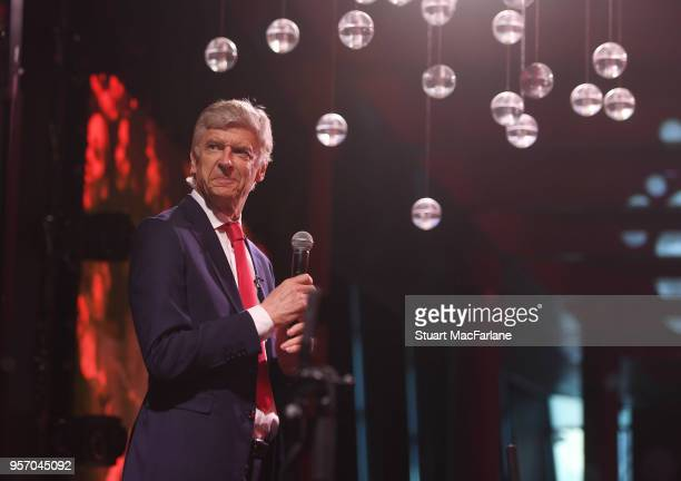 Arsenal manager Arsene Wenger attends the Arsenal Foundation Ball at Emirates Stadium on May 10 2018 in London England