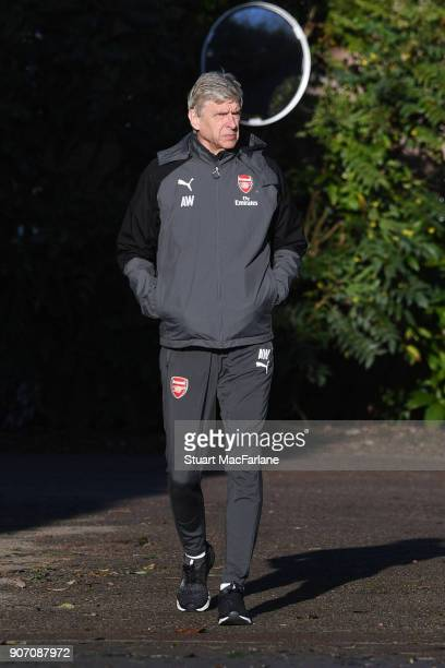 Arsenal manager Arsene Wenger before a training session at London Colney on January 19 2018 in St Albans England