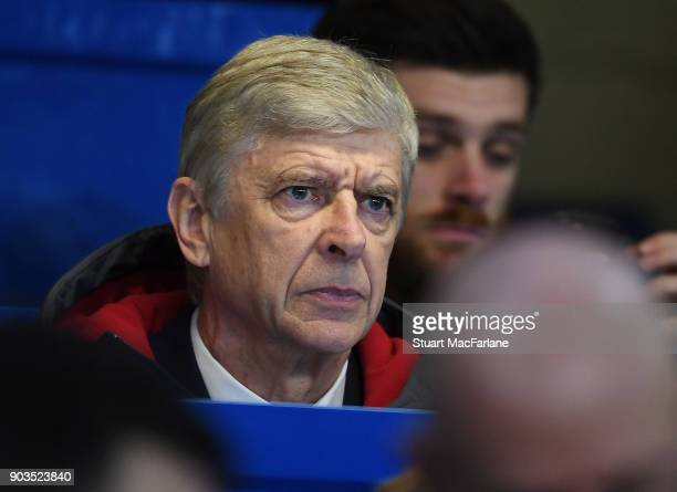 Arsenal manager Arsene Wenger before the Carabao Cup SemiFinal First Leg match between Chelsea and Arsenal at Stamford Bridge on January 10 2018 in...