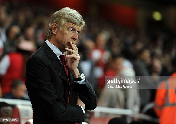Arsenal manager Arsene Wenger before the Carling Cup Third Round match between Arsenal and Shrewsbury Town at Emirates Stadium on September 20 2011...