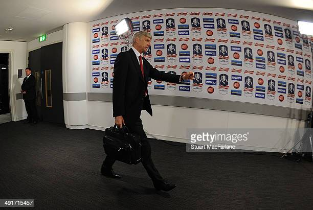 Arsenal manager Arsene Wenger before the FA Cup Final between Arsenal and Hull City at Wembley Stadium on May 17 2014 in London England
