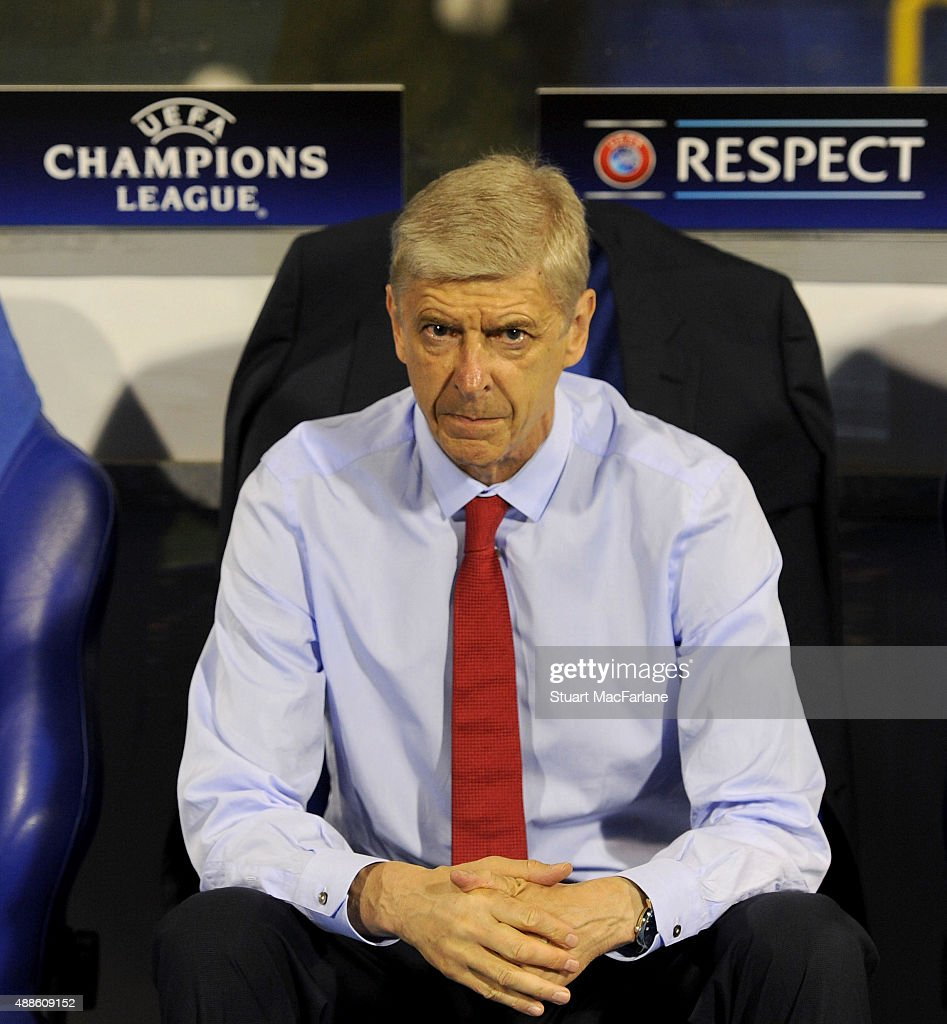Arsenal manager Arsene Wenger before the UEFA Champions League Group Stage match between GNK Dinamo Zagreb and Arsenal at the Maksimir Stadium on September 16, 2015 in Zagreb, Croatia.