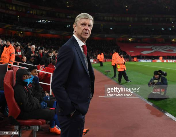 Arsenal manager Arsene Wenger before UEFA Europa League Round of 32 match between Arsenal and Ostersunds FK at the Emirates Stadium on February 22...