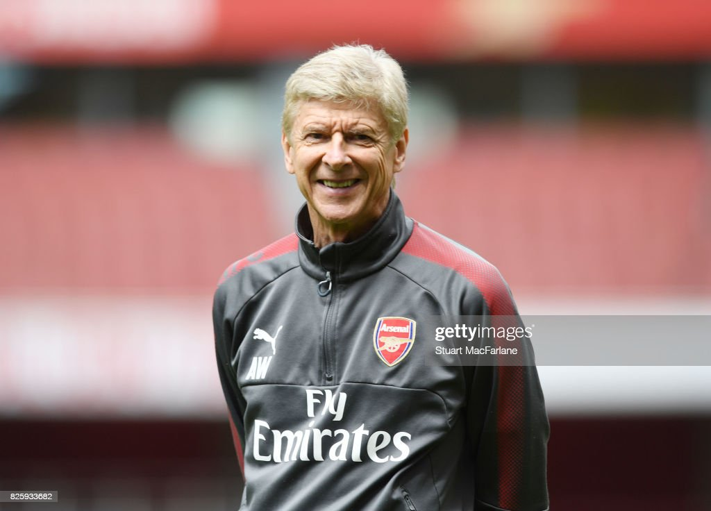 Arsenal manager Arsene Wenger during a training session at Emirates Stadium on August 3, 2017 in London, England.