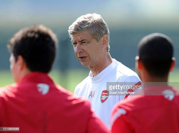 Arsenal manager Arsene Wenger during a training session at London Colney on August 19 2011 in St Albans England