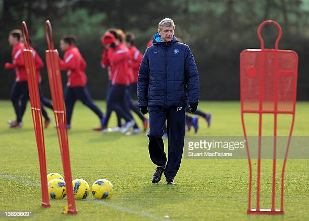 Arsenal manager Arsene Wenger during a training session at London Colney on January 13 2012 in St Albans England
