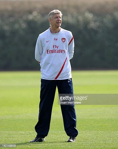 Arsenal manager, Arsene Wenger during a training session at London Colney on March 30, 2012 in St Albans, England.