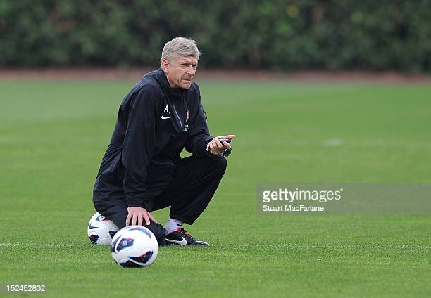 Arsenal manager Arsene Wenger during a training session at London Colney on September 21, 2012 in St Albans, England.