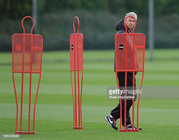 Arsenal manager Arsene Wenger during a training session at London Colney on October 5 2012 in St Albans England