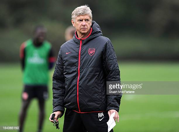 Arsenal manager Arsene Wenger during a training session at London Colney on October 19, 2012 in St Albans, England.