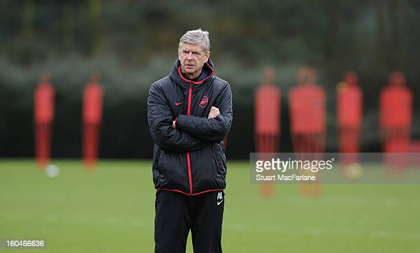 Arsenal manager Arsene Wenger during a training session at London Colney on February 01, 2013 in St Albans, England.