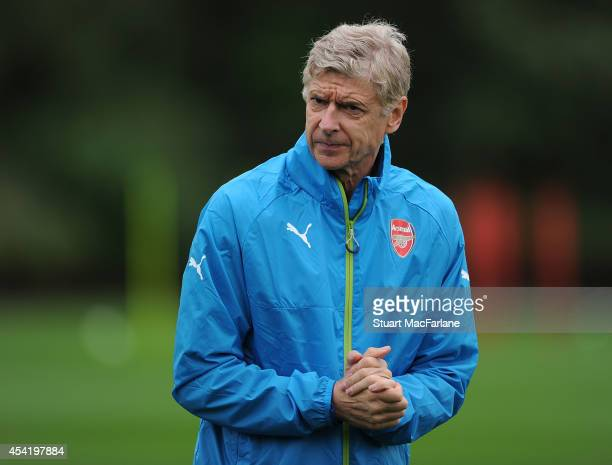 Arsenal manager Arsene Wenger during a training session at London Colney on August 26 2014 in St Albans England