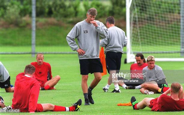 Arsenal manager Arsene Wenger during a training session at London Colney on August 23 2001 in St Albans England